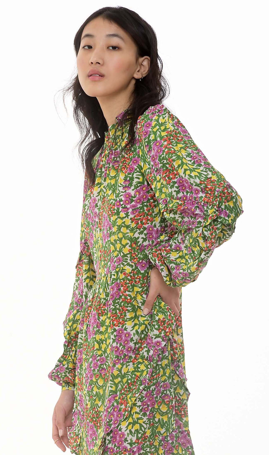 Lila Dress Cottage Garden Silk Crepe
