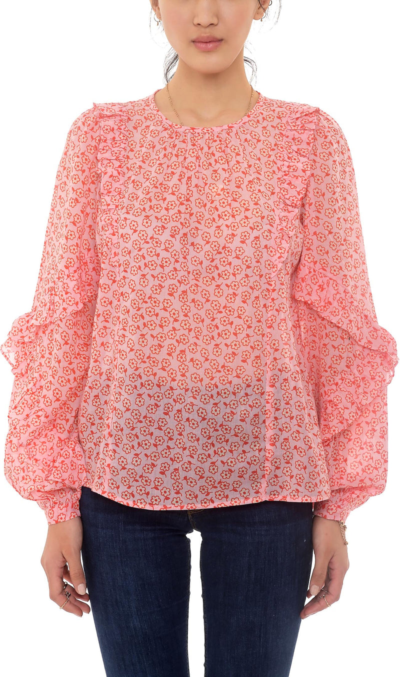Banjanan Margot Top Scattered Daisy Orchid Pink 100% Cotton voile