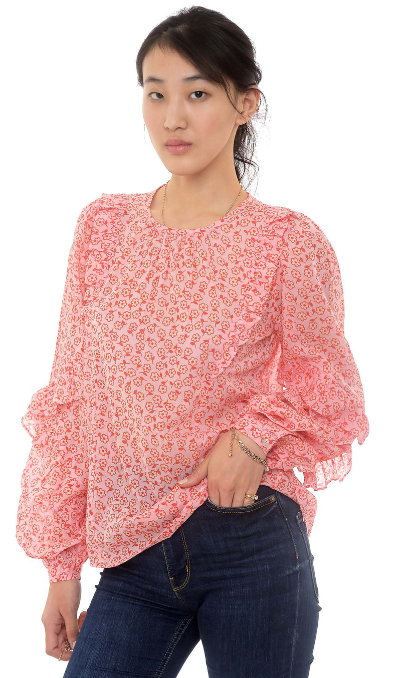 Margot Top, Scattered Daisy Orchid Pink, 100% Cotton voile