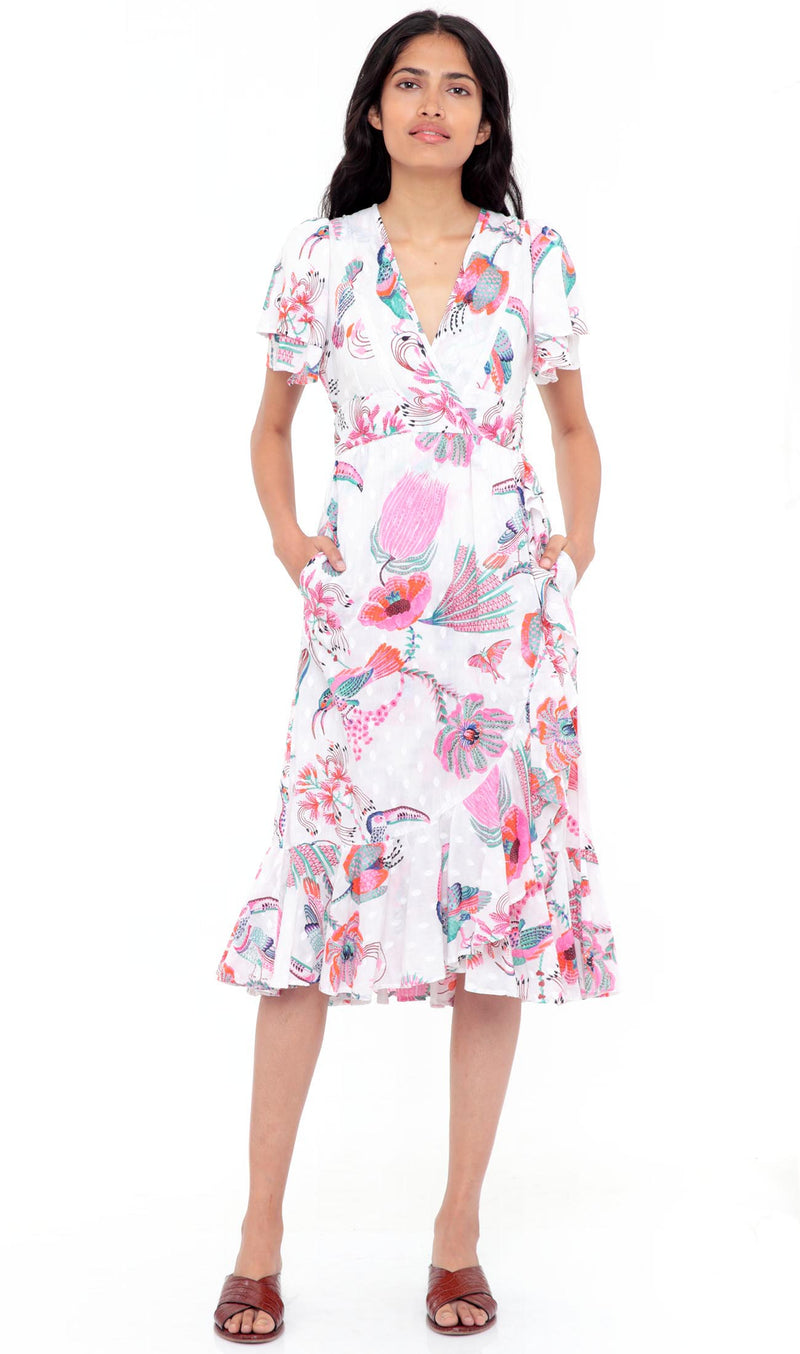 Adriana Dress Tulip Bird Lilac