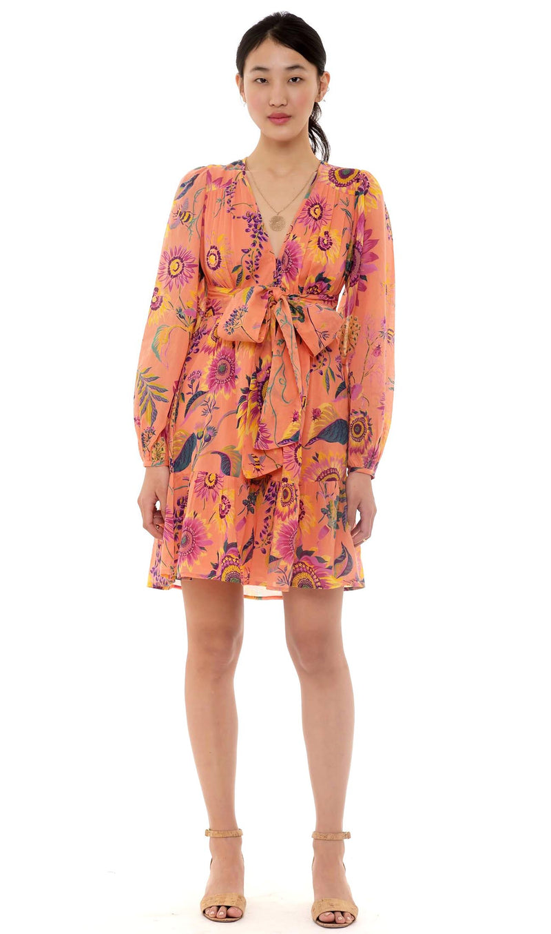 Banjanan Peony Mini Dress Coral