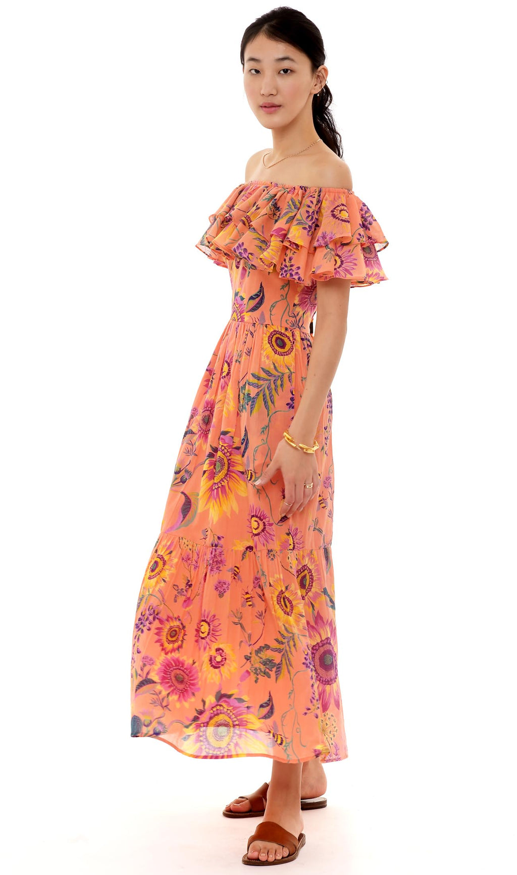 Pricilla Dress, Mid-Summer Bumble Living Coral, 100% Organic Cotton Voile