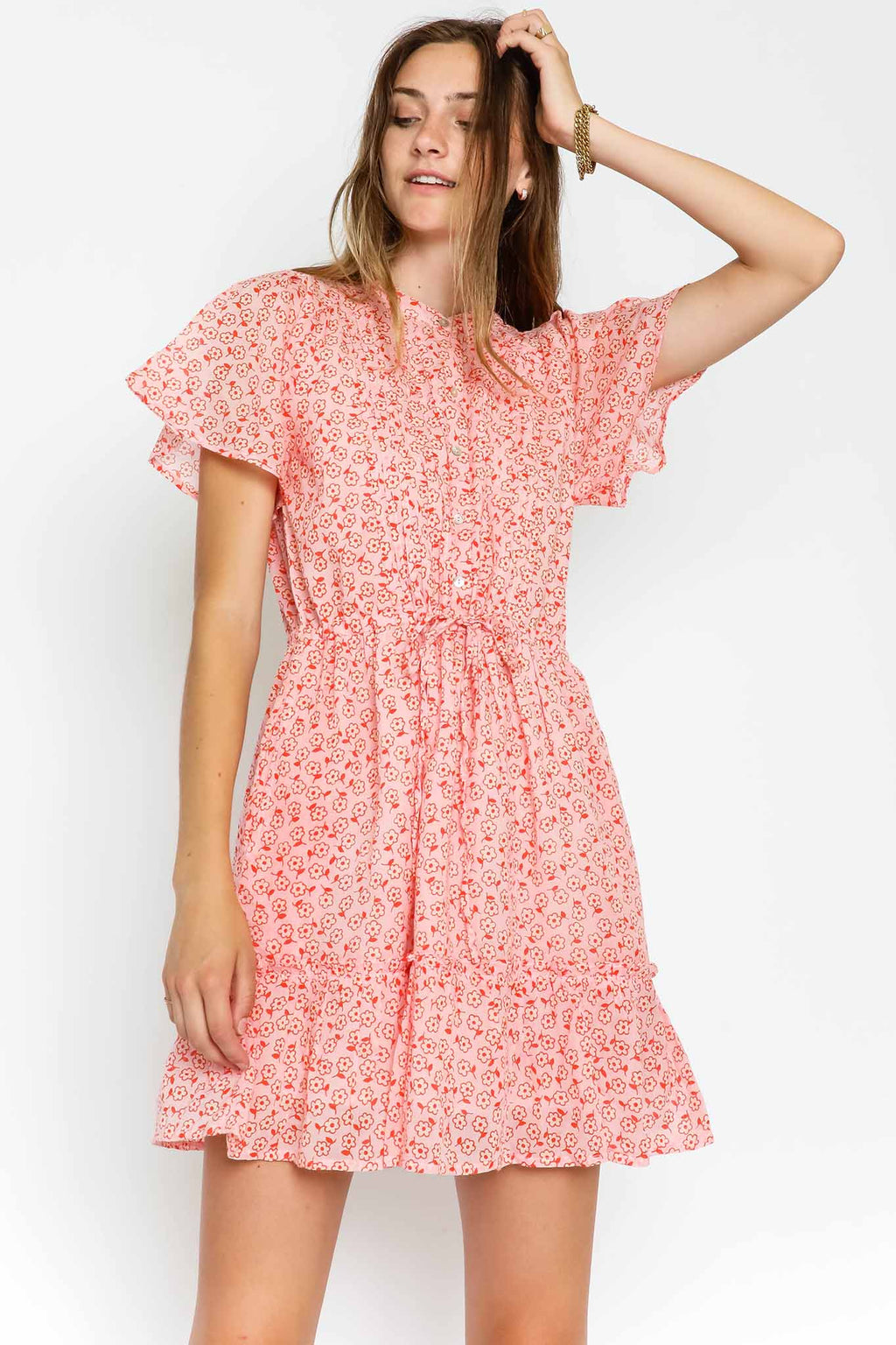 Rhonda Dress Scattered Daisy Orchid Pink