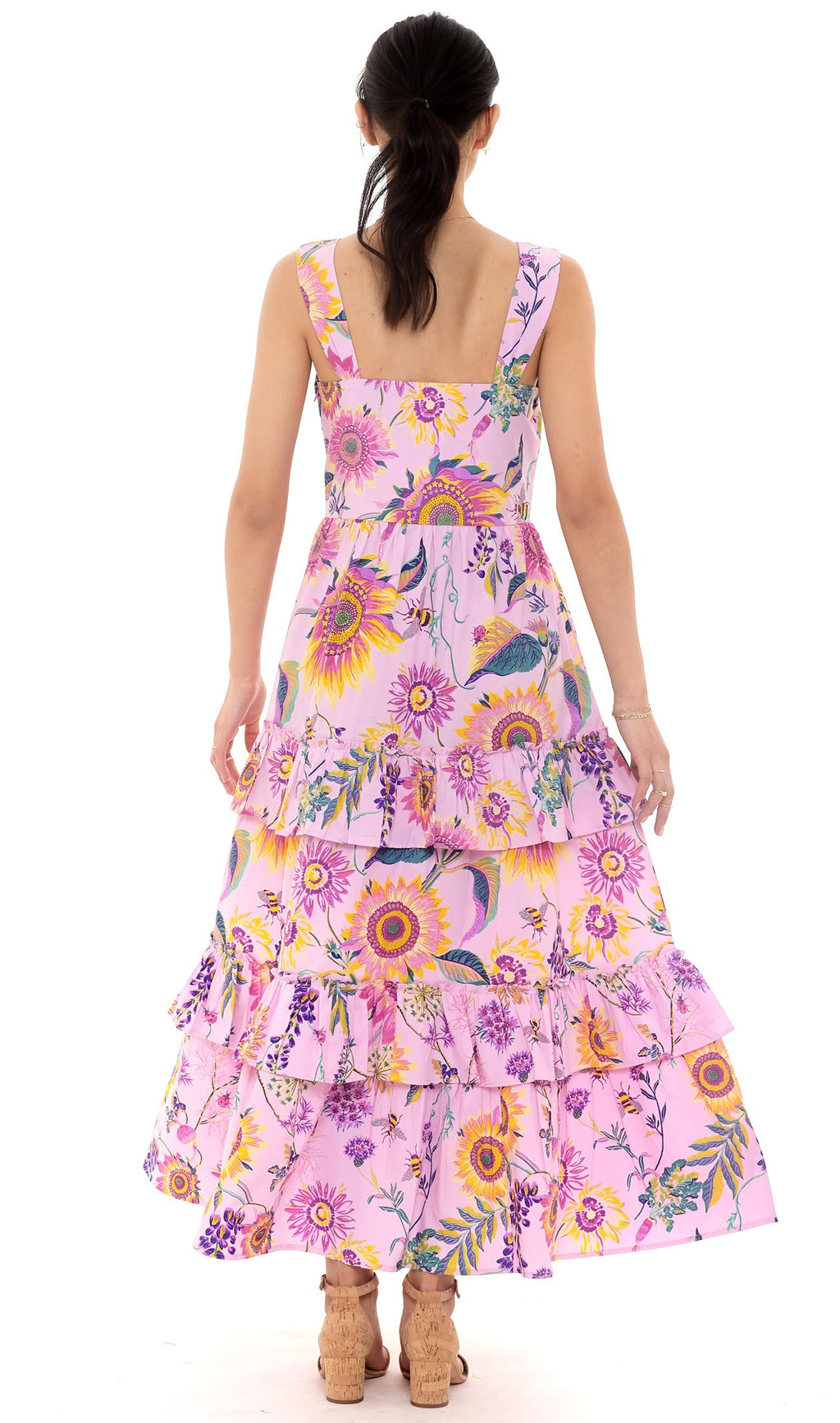 Serafina Dress, Mid-Summer Bumble Orchid Bouquet, 100% Cotton Poplin