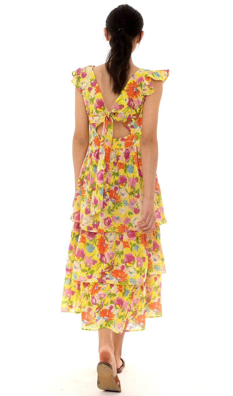 Sierra Dress, Fiesta Buttercup, 100% Organic Cotton Voile