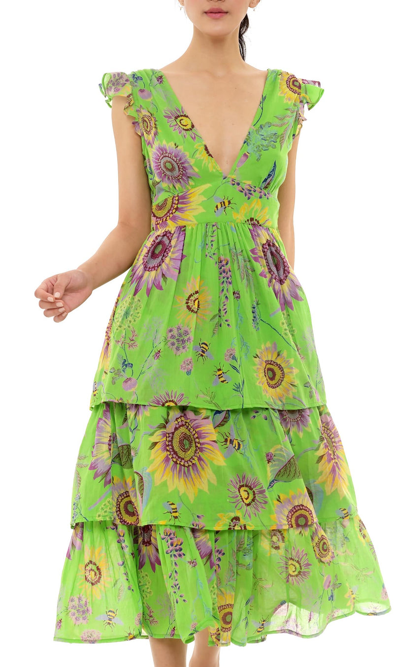 Sierra Dress, Mid-Summer Bumble Bud Green, 100% Organic Cotton Voile