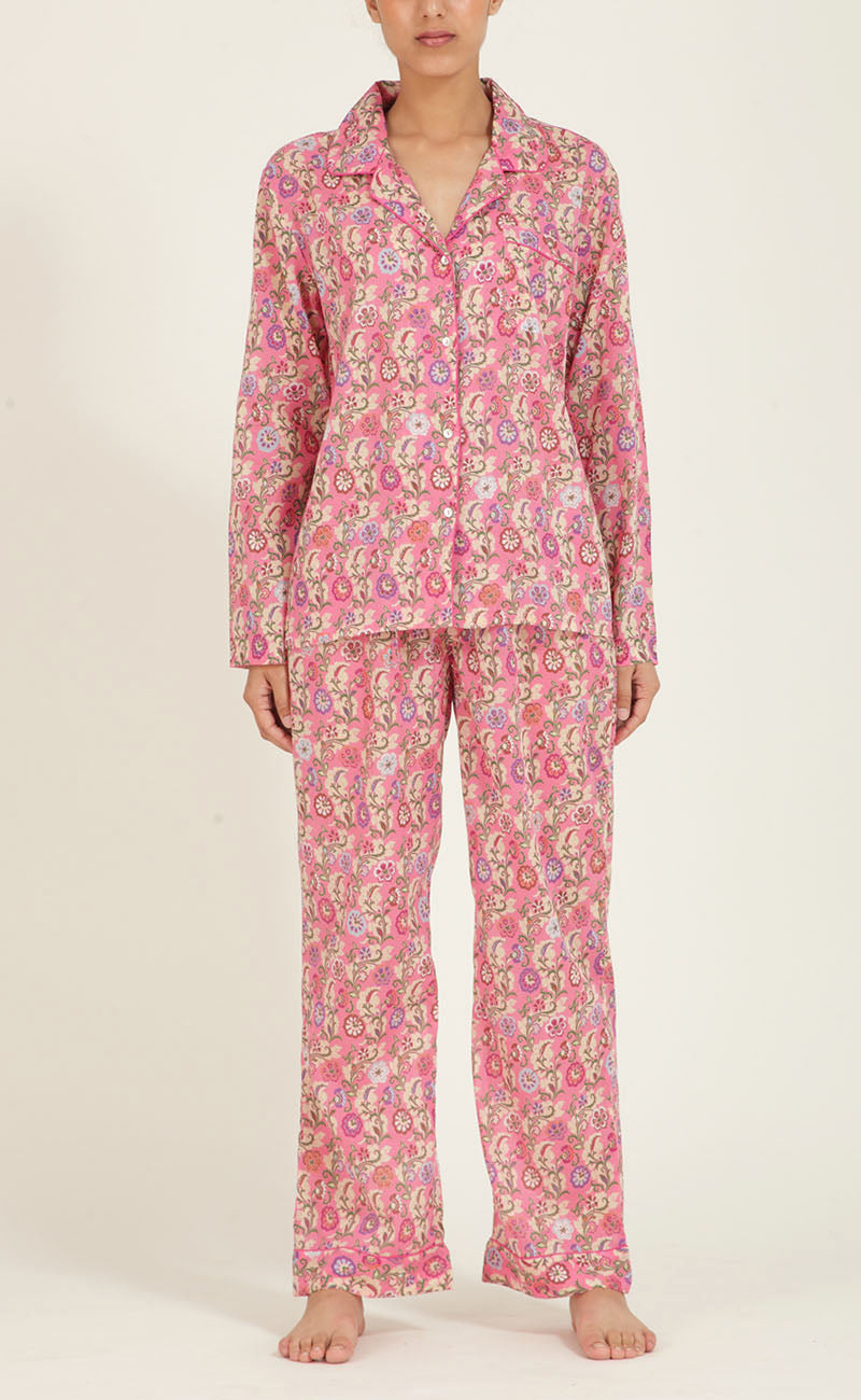 Moondust Pajamas, Bubblegum Kashmir Garland, Cotton Voile