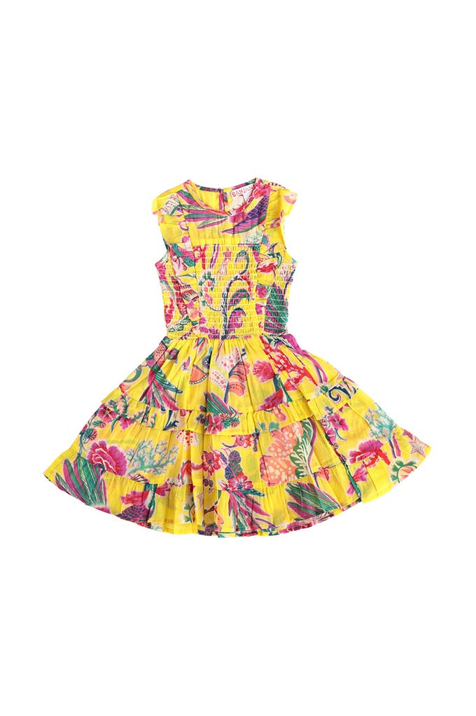Kids Iris Dress, Miranda Floral Green