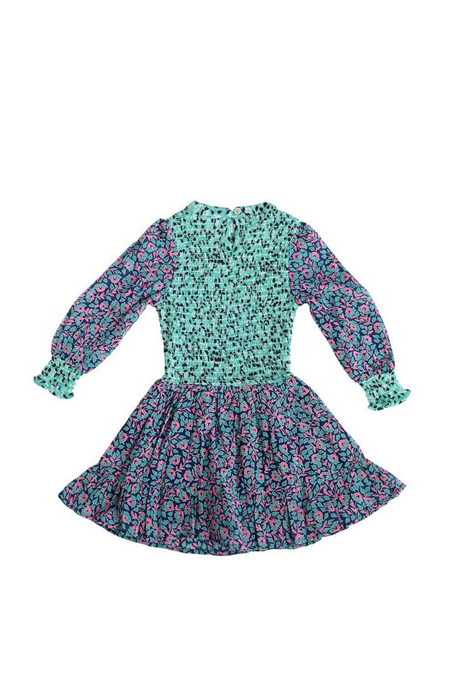 Chota Irma Dress, Miranda Floral Blueprint / Sea-green