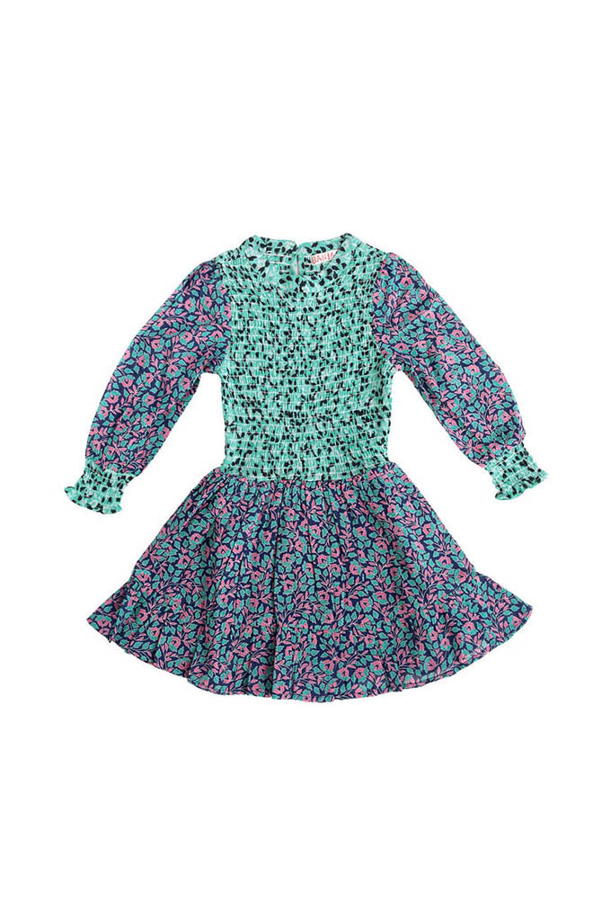 Kids Irma Dress, Miranda Floral Blueprint / Sea-green
