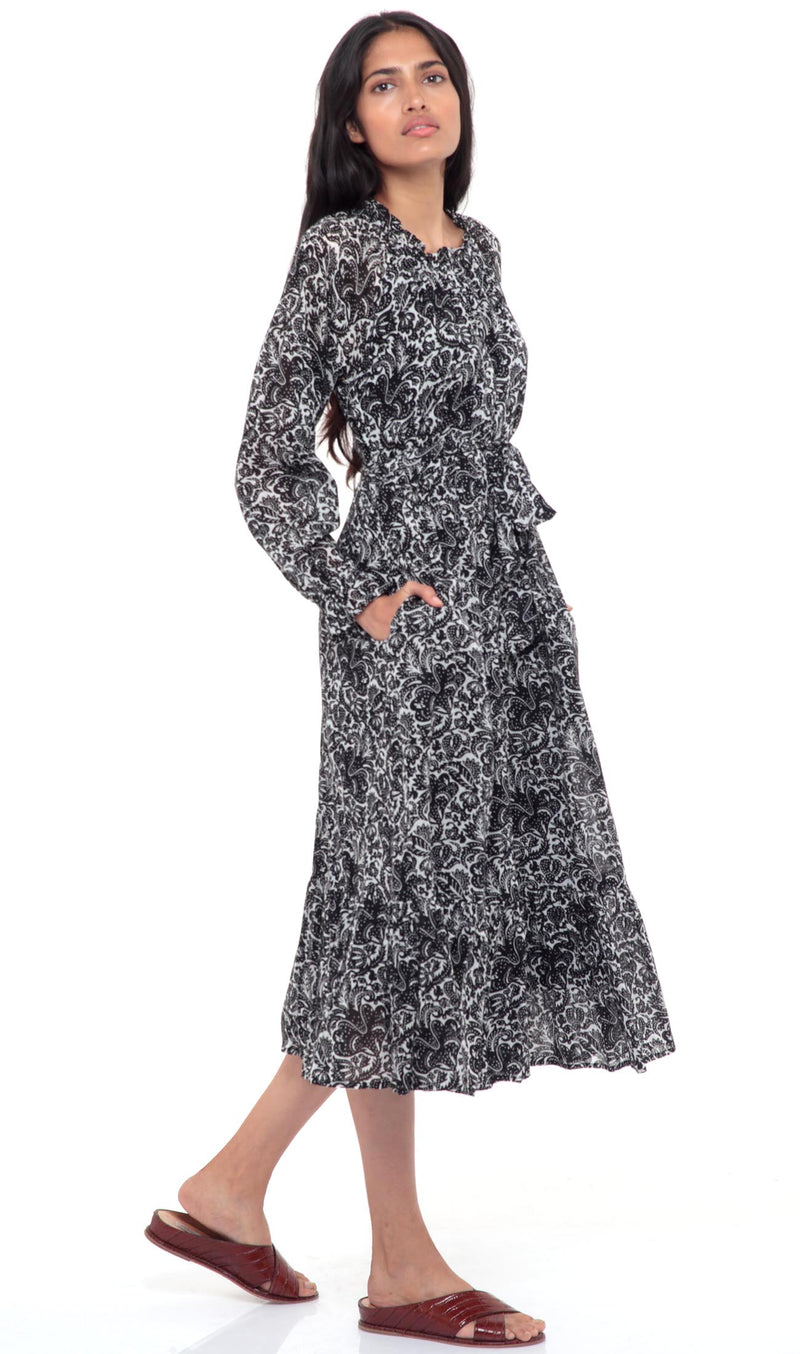 Ester Dress Decoupage Floral Black
