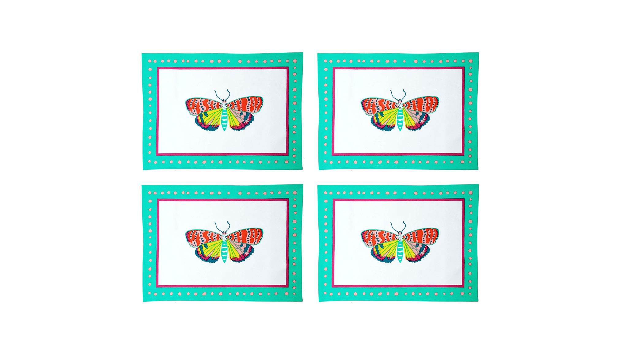 A pack of 4 Magical Animal Placemats, Flitter Butterfly , Cotton Linen
