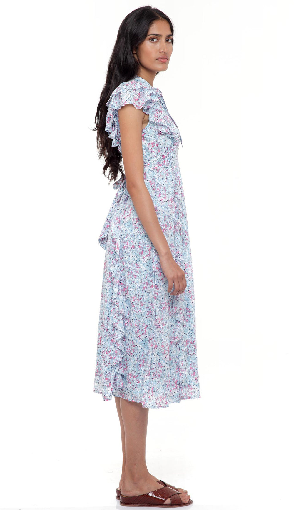 Flora Dress Clover Field White Blue - 3 LEFT IN SIZE L.
