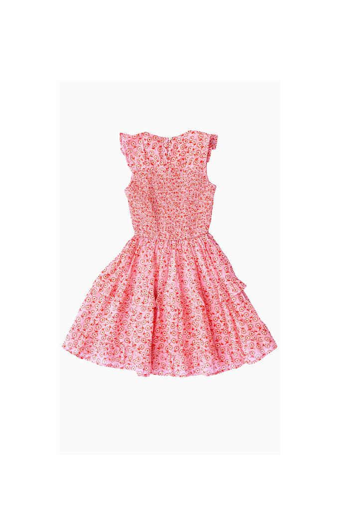 Kids Iris Dress, Scattered Daisy Orchid Pink, 100% Organic Cotton Voile