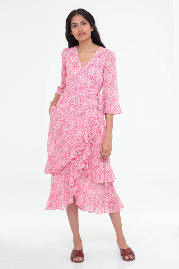 Marta Dress Clover Field White Pink - ONE LEFT IN XS