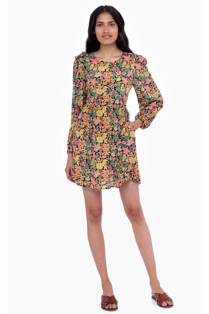 Petra Mini Dress Anna's Wild Garden Black