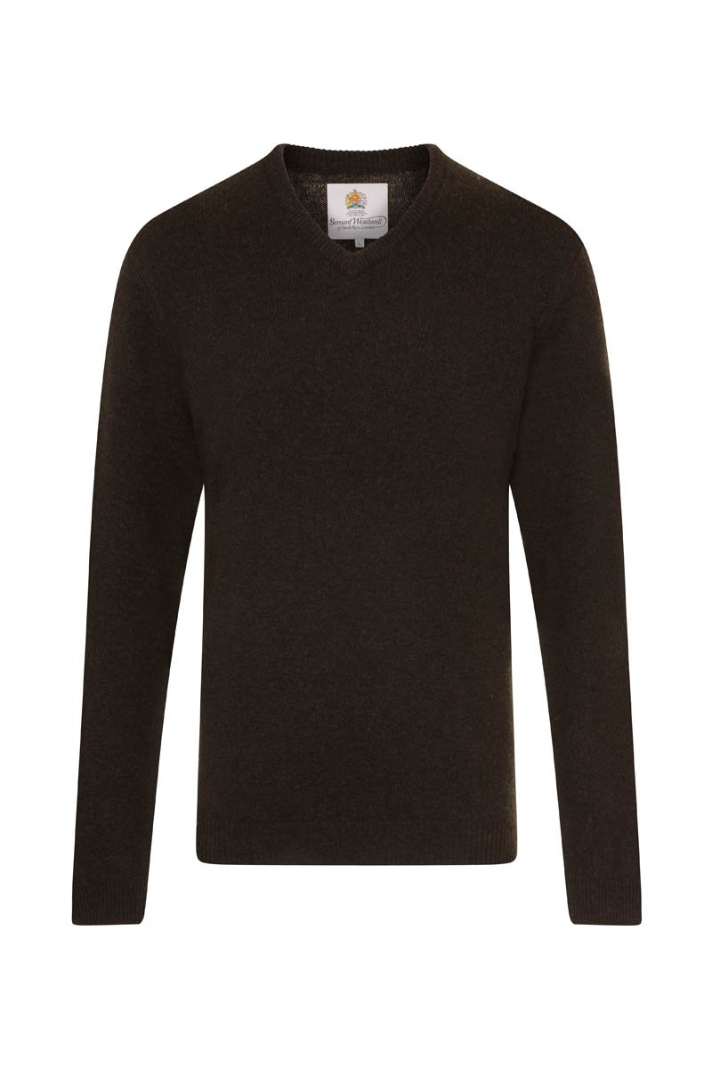 Bernard Weatherill Men's V-Neck Knit Loden | Malford of London Savile Row and Luxury Formal Wear Sale Outlet