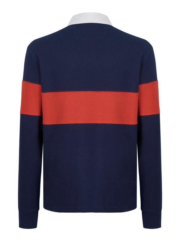 Hackett Classic Panel Rugby Shirt Navy | Malford of London Savile Row and Luxury Formal Wear Sale Outlet