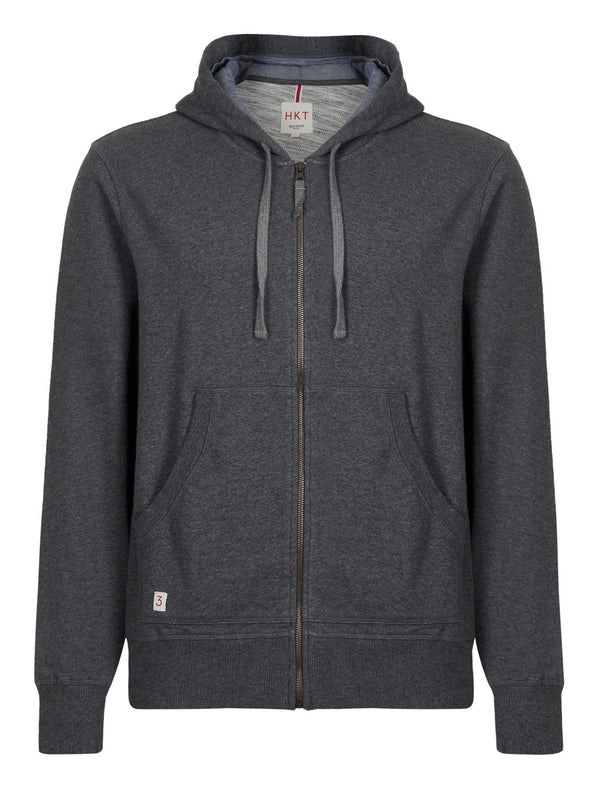 Hackett HKT Zip Hoodie Charcoal | Malford of London Savile Row and Luxury Formal Wear Sale Outlet