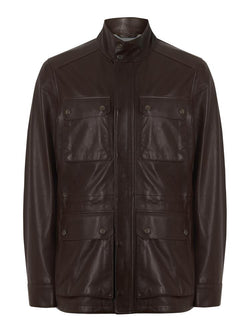 Hackett Leather Field Jacket Dark Brown | Malford of London Savile Row and Luxury Formal Wear Sale Outlet
