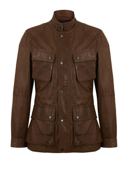 Hackett Leather Moto Jacket Tan | Malford of London Savile Row and Luxury Formal Wear Sale Outlet