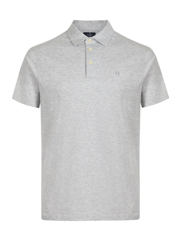 Hackett Linen Blend Polo Shirt Grey Marl | Malford of London Savile Row and Luxury Formal Wear Sale Outlet