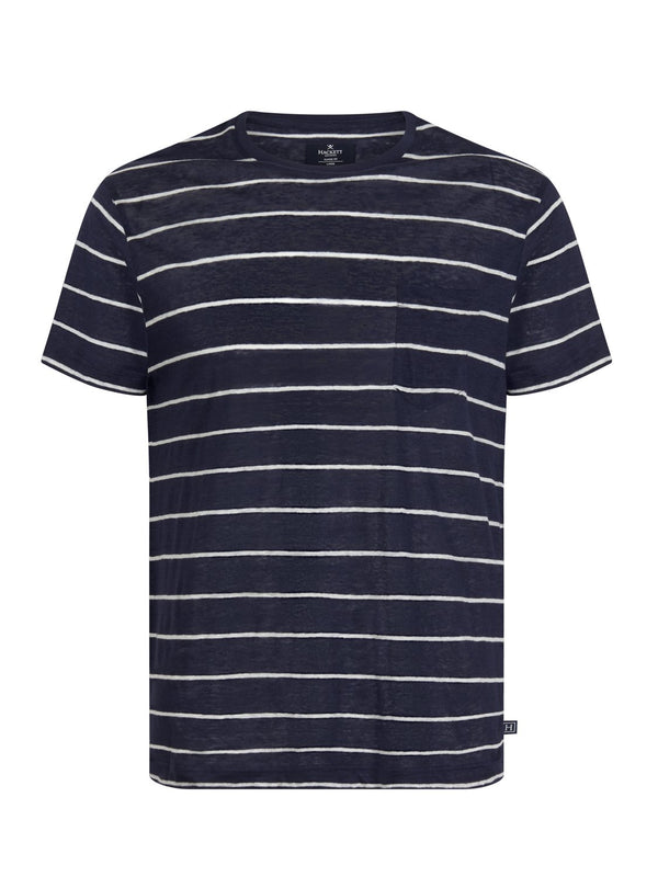 Hackett Linen Stripe PKT Tee Navy/White | Malford of London Savile Row and Luxury Formal Wear Sale Outlet