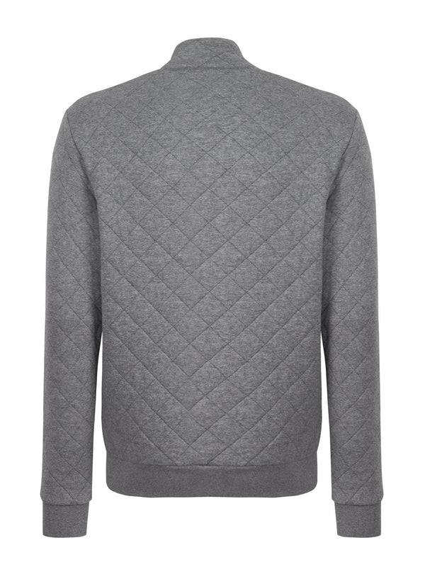 Hackett Quilt Zip Sweat Grey | Malford of London Savile Row and Luxury Formal Wear Sale Outlet