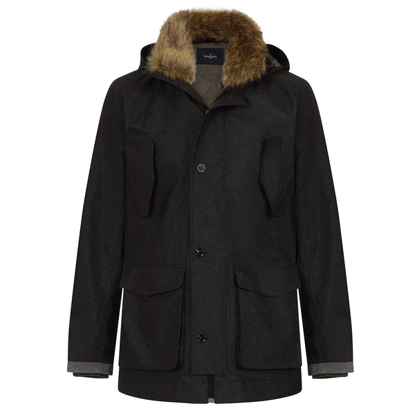 Hackett Savile Row Faux Fur Parka Charcoal | Malford of London Savile Row and Luxury Formal Wear Sale Outlet