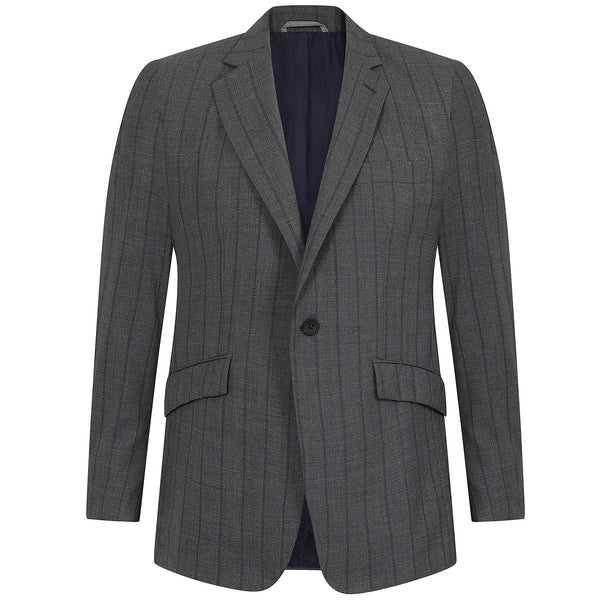 Hackett Single Breasted MYF NAT Strch Stripe Savile Row Suit Grey Blue | Malford of London Savile Row and Luxury Formal Wear Sale Outlet