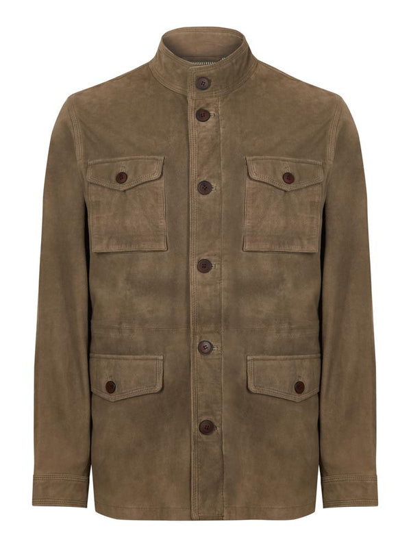 Hackett Suede Field Jacket Taupe | Malford of London Savile Row and Luxury Formal Wear Sale Outlet