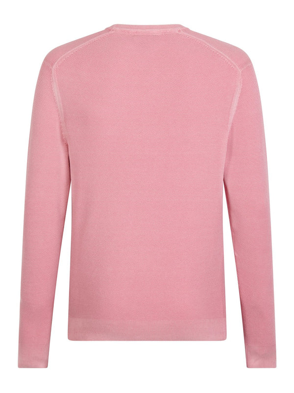 Hackett Textured Crew Knit Cloudy Pink | Malford of London Savile Row and Luxury Formal Wear Sale Outlet