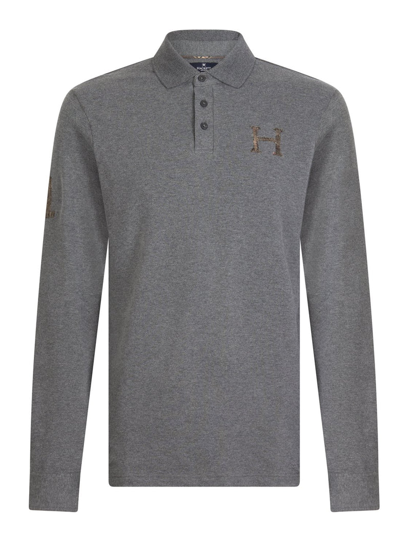 Hackett Tweed H L/S Polo Grey Marl | Malford of London Savile Row and Luxury Formal Wear Sale Outlet
