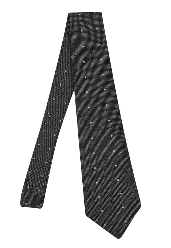 Hardy Amies BLACK GREY DOUBLE SPOT WOVEN TIE | Malford of London Savile Row and Luxury Formal Wear Sale Outlet