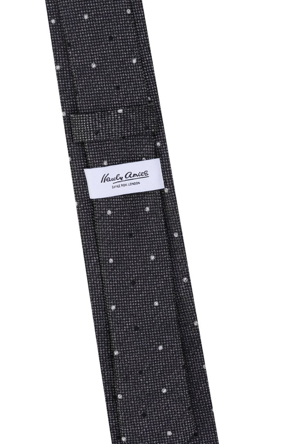 Hardy Amies CHARCOAL SPOTTED WOVEN SILK TIE | Malford of London Savile Row and Luxury Formal Wear Sale Outlet