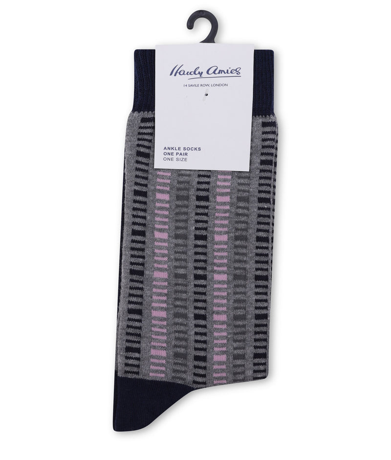 Hardy Amies CHARCOAL/PINK SAVILE ROW SOCKS | Malford of London Savile Row and Luxury Formal Wear Sale Outlet