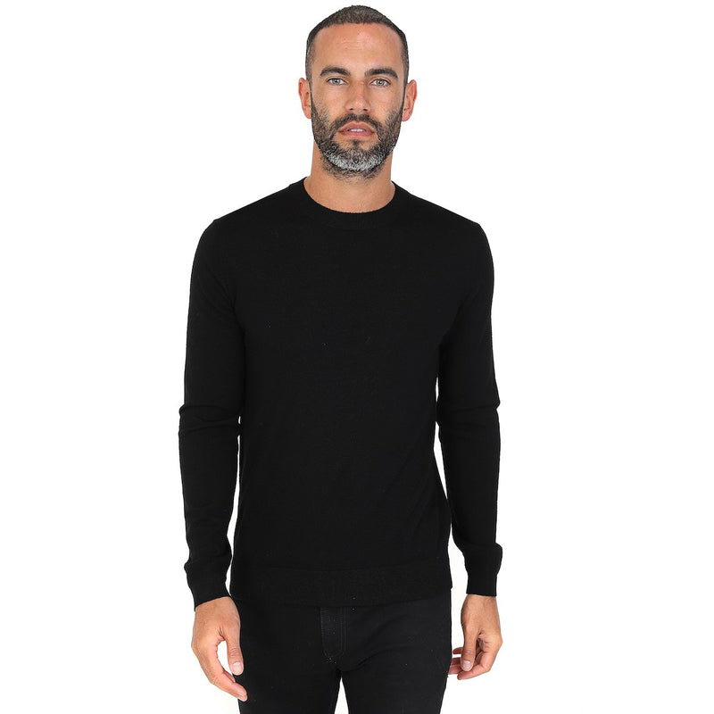 Hardy Amies MERINO WOOL CREW NECK JUMPER Black | Malford of London Savile Row and Luxury Formal Wear Sale Outlet