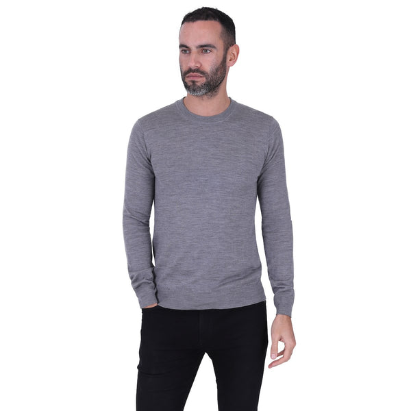 Hardy Amies MERINO WOOL CREW NECK JUMPER Grey | Malford of London Savile Row and Luxury Formal Wear Sale Outlet
