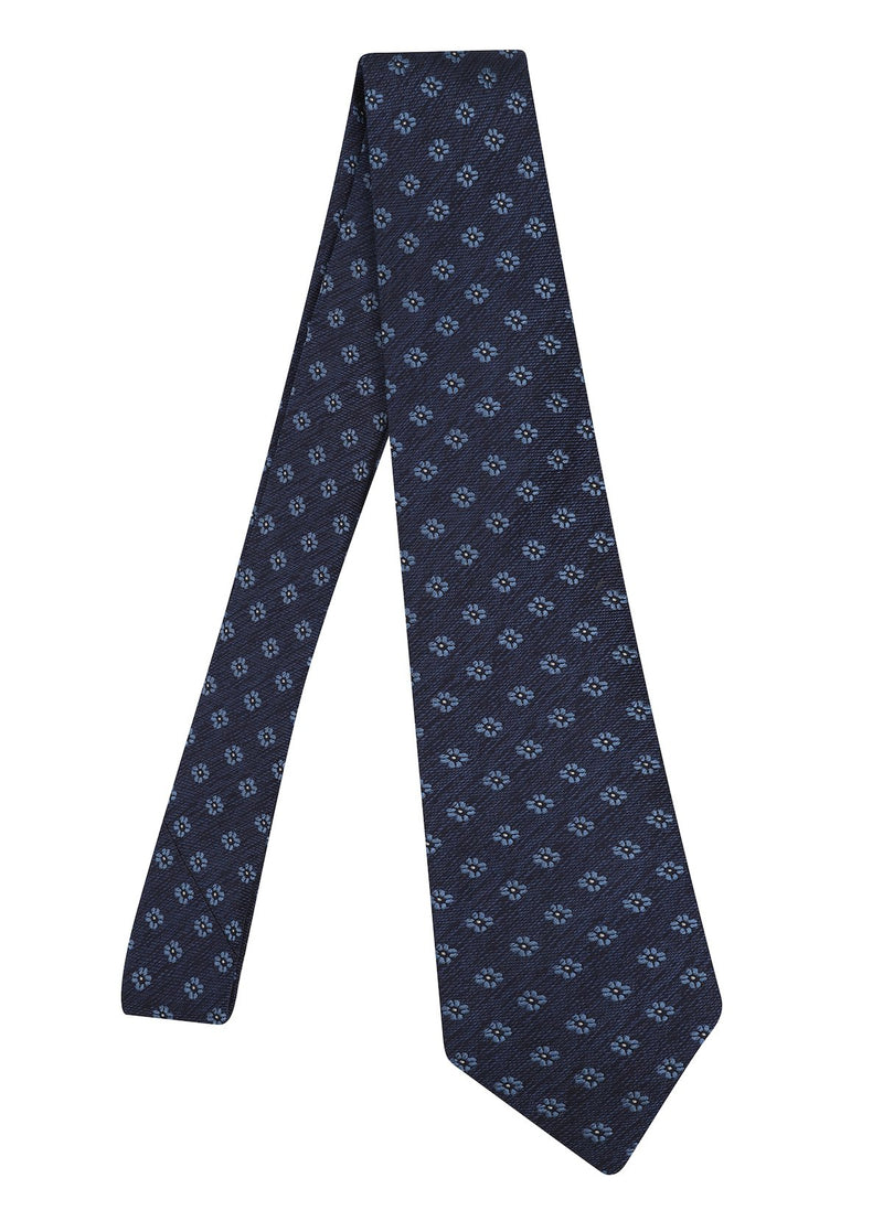Hardy Amies NAVY BLUE TWILL FLOWER WOVEN TIE | Malford of London Savile Row and Luxury Formal Wear Sale Outlet