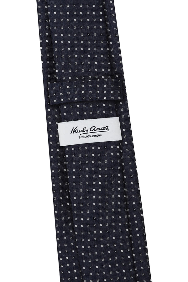 Hardy Amies NAVY BLUE / WHITE CROSS WOVEN TIE | Malford of London Savile Row and Luxury Formal Wear Sale Outlet