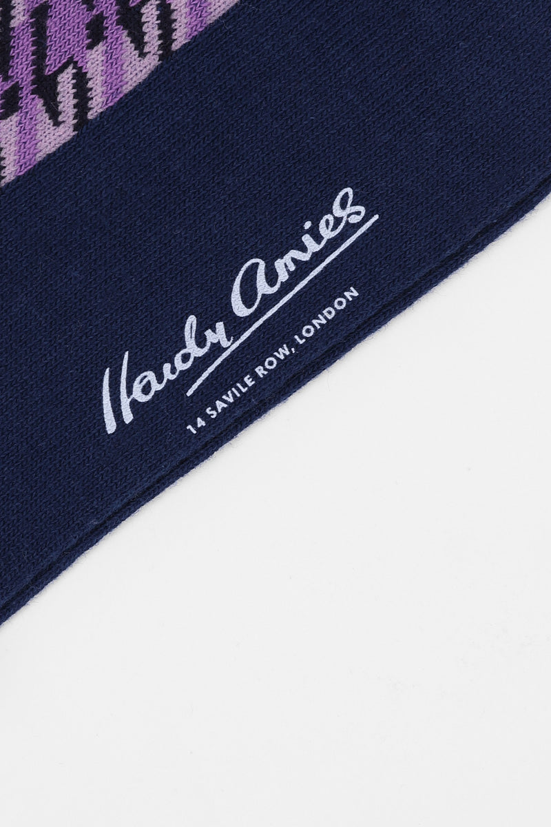 Hardy Amies PINK/NAVY SAVILE ROW SOCKS | Malford of London Savile Row and Luxury Formal Wear Sale Outlet