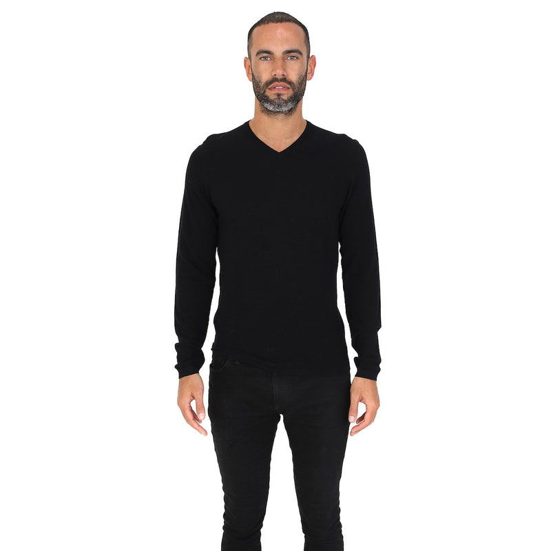 Hardy Amies V-NECK MERINO WOOL JUMPER Black | Malford of London Savile Row and Luxury Formal Wear Sale Outlet