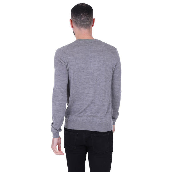Hardy Amies V-NECK MERINO WOOL JUMPER Grey | Malford of London Savile Row and Luxury Formal Wear Sale Outlet