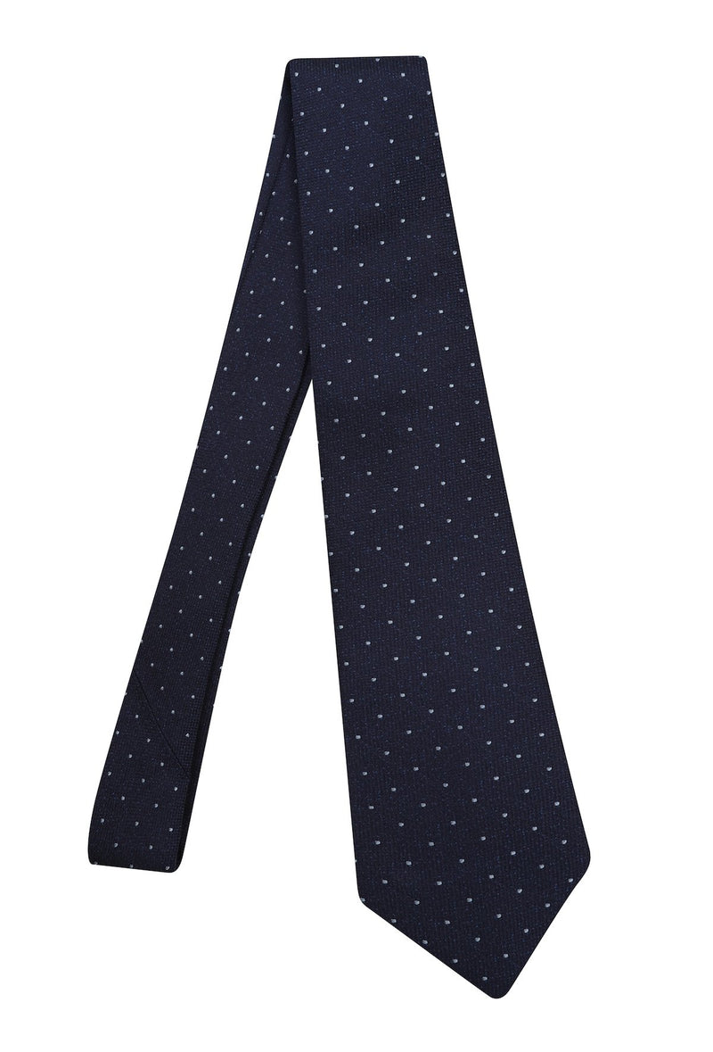 Hardy Amies WHITE SPOTTED NAVY WOVEN TIE | Malford of London Savile Row and Luxury Formal Wear Sale Outlet