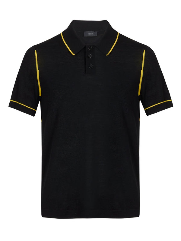 Joseph Light Merino Wool Polo Shirt Black | Malford of London Savile Row and Luxury Formal Wear Sale Outlet