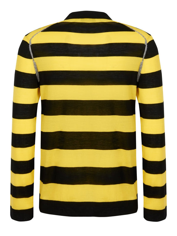 Joseph Light Stripe Merino Wool Rugby Polo Black/Yellow | Malford of London Savile Row and Luxury Formal Wear Sale Outlet