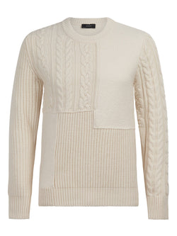 Joseph Mixed Wool Cable Sweater Off-white | Malford of London Savile Row and Luxury Formal Wear Sale Outlet