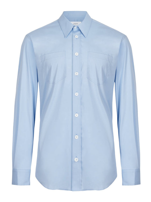 Jospeh Delano Poplin Shirt Sky Blue | Malford of London Savile Row and Luxury Formal Wear Sale Outlet