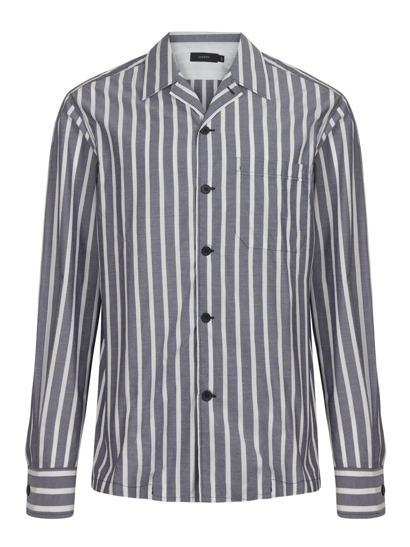 Jospeh Dixon Henley Stripe Shirt Grey White | Malford of London Savile Row and Luxury Formal Wear Sale Outlet