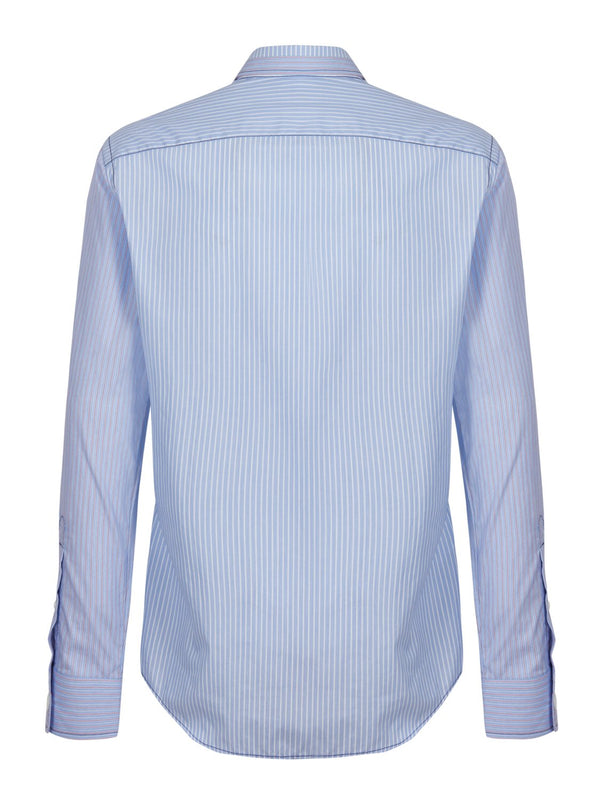 Jospeh Moriston Stripe Shirt Blue | Malford of London Savile Row and Luxury Formal Wear Sale Outlet